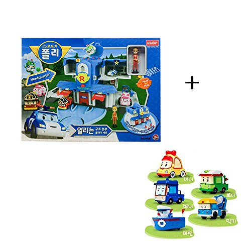 Academy Robocar Poli Headquarters Rescue Center Poli/Roi/Amber Play Set With Diecast Figures Mini+Rodi+Beni+Micky+Marine by Academy Models