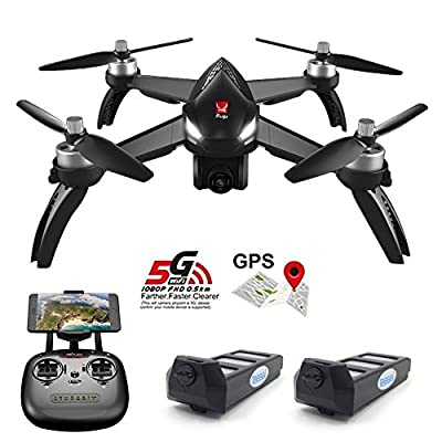 Teeggi MJX Bugs 5W B5W GPS FPV RC Drone with Camera Live Video GPS Smart Return Quadcopter with 5G 1080P HD WiFi Camera and Follow Me Altitude Hold Headless Mode Track Flight Point of Interest Flying by Teeggi