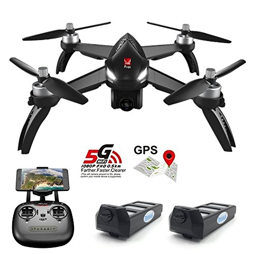 Teeggi MJX Bugs 5W B5W GPS FPV RC Drone Camera Live Video GPS Smart Return Quadcopter 5G 1080P HD WiFi Camera Follow Me Altitude Hold Headless Mode Track Flight Point Interest Flying (B5W)