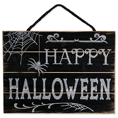 Gold Happy Indoor and Outdoor Wood Fall Halloween Hanging Door Decorations and Wall Signs, Haunted House Decor, For Home, School, Office, -