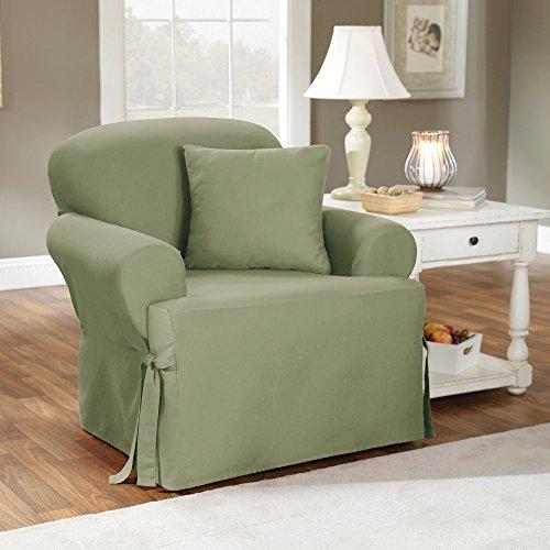 (SureFit Cotton Duck T-Cushion Chair Slipcover, Sage)