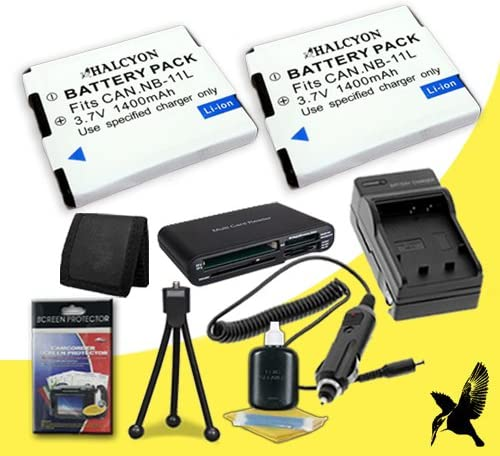 Memory Card Wallet Deluxe Starter Kit for Canon PowerShot ELPH 130 HS 16.1 MP Digital Camera and Canon NB-11L SDHC Card USB Reader Two Halcyon 1400 mAH Lithium Ion Replacement NB-11L Battery and Charger Kit
