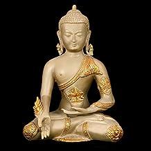 """Rare 12"""" Medicine Buddha Statue Large - Brass Metal Antique Dust & Golden Sculpture - Tibetan Buddha"""