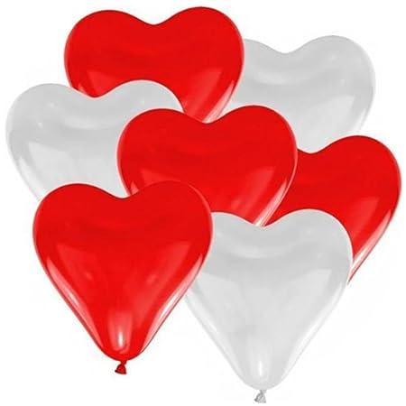 doitsa 100pcs balón decorativo forma de corazón Mix blanco y rojo ...
