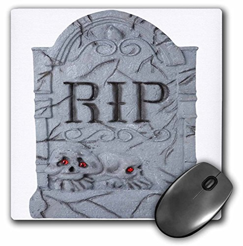 3dRose Blonde Designs Happy and Haunted Halloween - Halloween RIP Headstone with Skulls - MousePad (mp_131314_1)