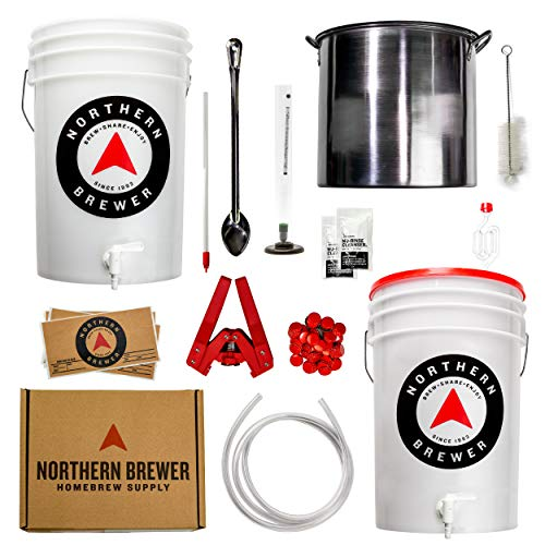 Northern Brewer - Brew. Share. Enjoy. HomeBrewing Starter Set With Recipe Kit And Stainless Steel Kettle - Equipment For Making 5 Gallons Of Homemade Beer (Block Party Amber with Testing Equipment)