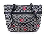 Coach Poppy Embossed Signature Black White Small Glam Tote, Bags Central