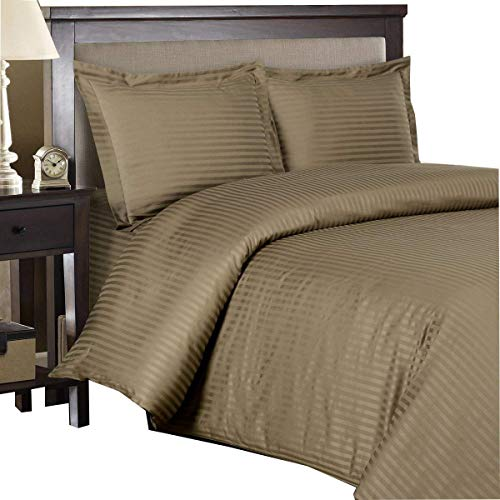 Taupe Insert - Royal Hotel Stripe Taupe 3pc Full/Queen Comforter Cover (Duvet Cover Set) 100-Percent Cotton, 500-Thread-Count, Sateen Striped
