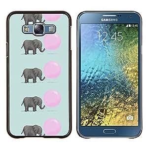 TECHCASE---Cubierta de la caja de protección para la piel dura ** Samsung Galaxy E7 E700 ** --patrón de globo rosado lindo del elefante