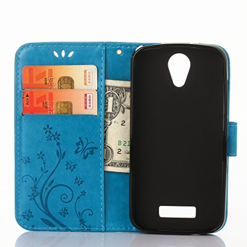 Yiizy DOOGEE X3 Custodia Cover, Erba Fiore Design Sottile Flip Portafoglio PU Pelle Cuoio Copertura Shell Case Slot Schede Cavalletto Stile Libro Bumper Protettivo Borsa (Blu)