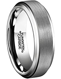 PAURO Unisex's Tungsten Carbide Comfort Fit Wedding Band Brushed Matte Finish Ring gjqpC2aoF