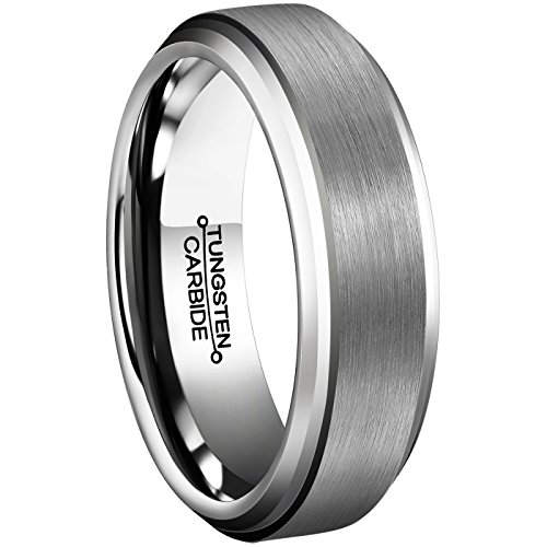 Men Rings 6mm Tungsten Carbide Brushed Matte Finish Beveled Edge Comfort Fit Wedding Engagement (Tungsten Carbide Beveled)