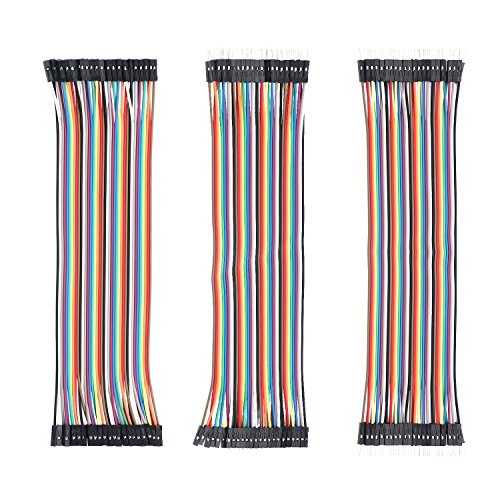 (120pcs Multicolored Dupont Wire 40pin Male to Female, 40pin Male to Male, 40pin Female to Female for Breadboard/Arduino Based/DIY/Robot Ribbon Cables Ki)