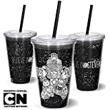 Copo Canudo 600ml Cartoon Network Off Believe In Steven, Beek Geek's Stuff, Cc-cnbelieve, Preto