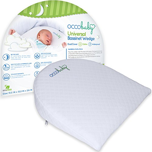 OCCObaby Universal Bassinet Wedge | Waterproof Layer & Handcrafted Cotton Removable Cover | 12-degree Incline for Better Night's (Clean Air Odor Free Diaper)