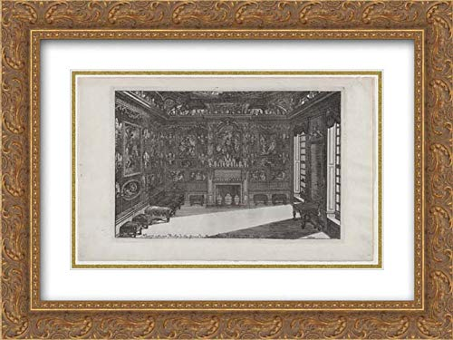 Daniel Marot The Elder - 24x18 Gold Ornate Frame and Double Matted Museum Art Print - Interior of a Porcelain Cabinet with Paintings and Vases, from Nouveaux Liure da Partements, ()