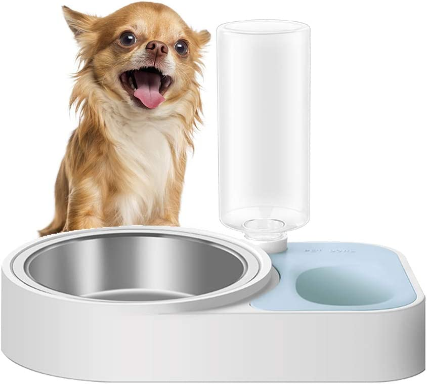 ASENVER 2-in-1 Automatic Dog Feeder Multi Function Cat Feeding Dispenser Detachable Dog Water Bottle and Food Bowl