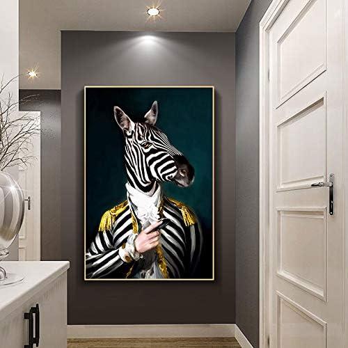 ganlanshu Retrato Abstracto y Mural de Pintura artística sobre Cabeza de Cebra y Sala de Estar decoración del hogar,Pintura sin Marco,50X75cm