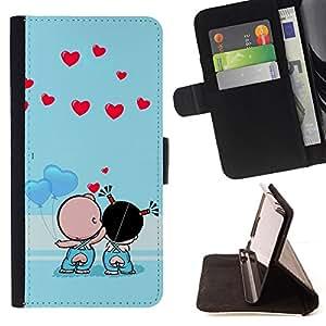 BullDog Case - FOR/Samsung Galaxy S5 V SM-G900 / - / Cute Couple Kiss Love /- Monedero de cuero de la PU Llevar cubierta de la caja con el ID Credit Card Slots Flip funda de cuer