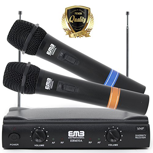 Professional Dual Wireless EMB VHF Handheld Microphone with long distance range - Perfect for Home/Church/Outdoor/Karaoke/Meeting - 53APK3