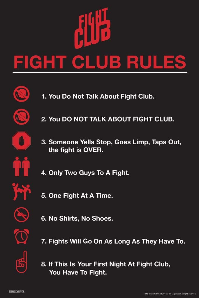 Pyramid America Fight Club Rules Simple List Icons Movie Classic Retro Cult Tyler Durden Cool Wall Decor Art Print Poster 12x18