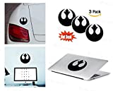 PACK of 3 Star Wars Rebel Alliance Sticker Decal for Macbook, Laptop ,Car Window, Laptop, Motorcycle, Walls, Mirror and More. MTS027