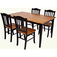 Boraam 80536 Shaker 5-Piece Dining Room Set, Black/Oak