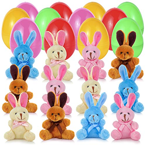 Easter eggs filled with plush bunnies