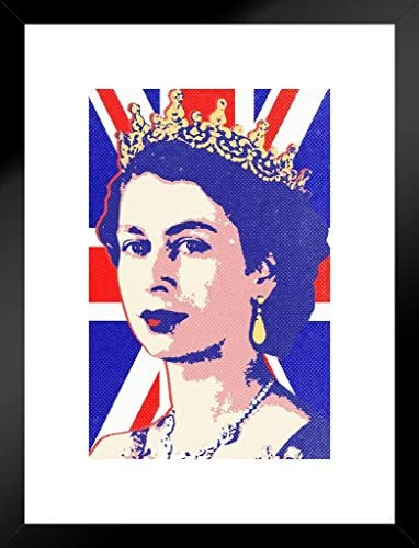 Poster Foundry Queen Elizabeth II Union Jack Pop Art Print Matted Framed Wall Art 20×26 inch