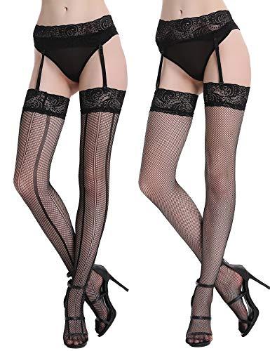 Tights Hosiery Stripe Sexy (Joyaria Women's Garter Belts Stocking Sheer Seamless Thigh High (2 Pairs, Black3))