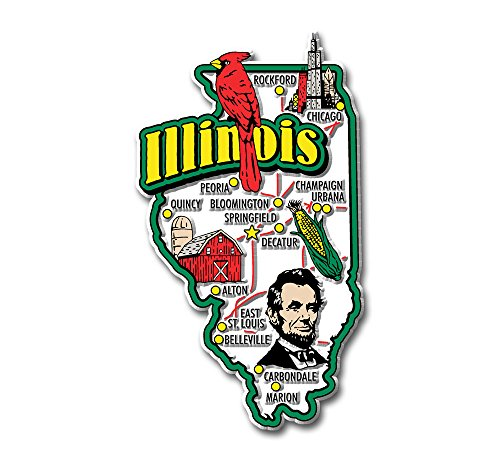 Illinois State Jumbo Map Magnet (Magnet Illinois Fridge)