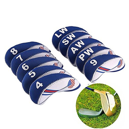 osierr6 10Pcs Golf Iron Head Cover Club Heads Protector Wedge Headcovers, Durable Golf Club Head Cover Set Water-resistant Material for Titleist, Callaway, Ping, Taylormade, Cobra, Nike by osierr6