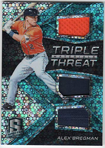 Alex Bregman 2017 Panini Spectra Triple Threat Materials Neon Blue Prizm Refractor Triple Jersey Card Serial #17/99 Houston Astros