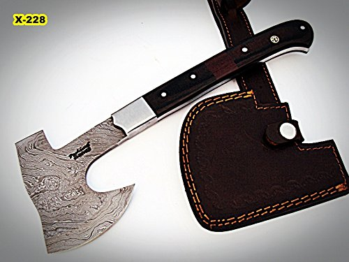 DIST-Ax-228, Handmade Damascus Steel 12 inches Beautiful Axe – Best Quality Black  Brown Micarta Handle with Stainless Steel Bolsters