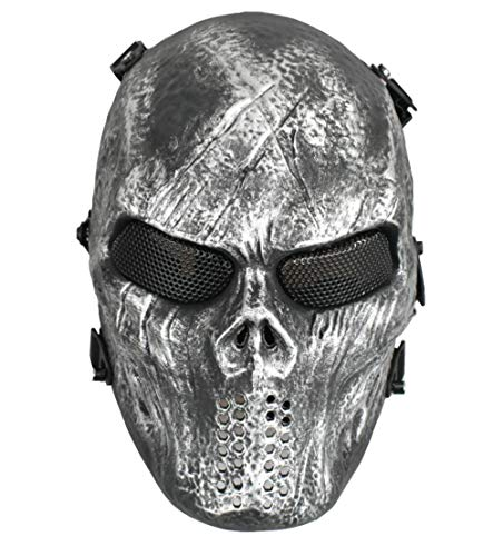 (Jadedragon Tactical Paintball Full Face Skull Skeleton Mask with Metal Mesh Eye Protection for Airsoft/BB/CS Game (Silver Gray))