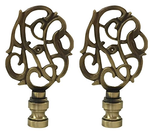 - Royal Designs Hand Carved Caste Floral Lamp Finial for Lamp Shade- Antique Brass Set of 2