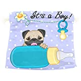 Dragon Sword Pug Dog Boy Gift Bags Jewelry Drawstring Pouches for Wedding Party, 12.6x17 Inch