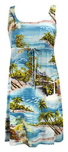 RJC Women's Tranquil Beach Short Hawaiian Empire Drawstring Tank Dress Blue Q3X Plus (Dress Tank Tranquil)