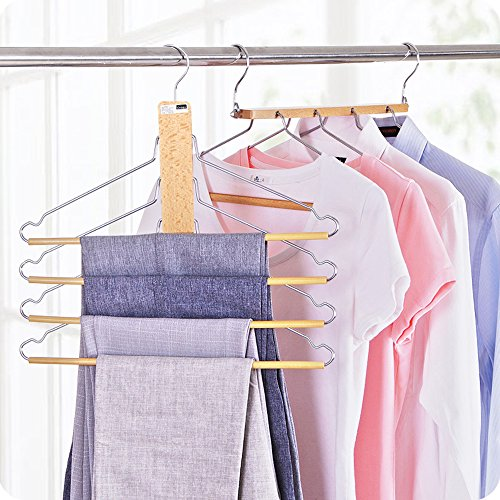BESTOOL Wooden Hangers-Non Slip Multi-layer Hangers Space Saving Folding Closet Organizer Rack Multifunctional Storage 12 Hooks Hangers for Coat Pants Scarf Clothes Towel Trousers (2 Pack)