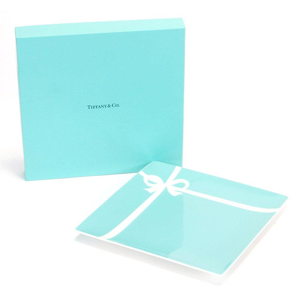 【名入れ対応可】ティファニー TIFFANY&Co ブルー ボックス プレート ボーンチャイナ 食器 (名入れなし) B00MHBRIA0   名入れなし