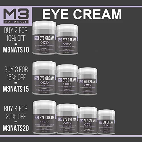 513O3i3oQ4L - M3 Naturals Eye Cream Infused with Collagen Stem Cell and Hyaluronic Acid for Puffiness Wrinkles Dark Circles Under Eye Bags Fine Lines Anti Aging Treatment Healthy Skin Care Moisturizer