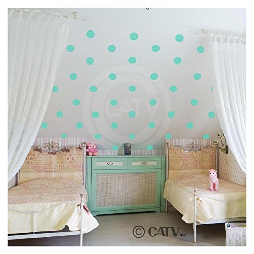 2x2 Set of 180 Polka Dot Circles vinyl lettering decal home decor wall art saying (Mint) (Aqua Accent Wall)