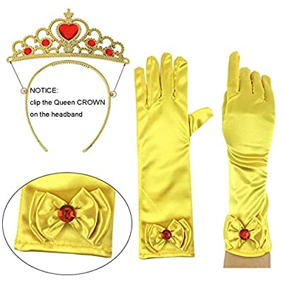 Buufan Girl Princess Dress up Accessories Costume for Princess Belle Cosplay Queen Jewelry-Crown Wand Gloves Necklace Earrings Halloween Party Kids Birthday Party,5 Pieces Set: Clothing