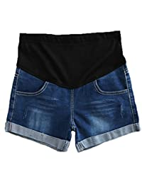 6955d0a1a1ce6 Happyyip Womens Summer Casual Blue Secret Fit Belly Roll Hem Maternity  Shorts