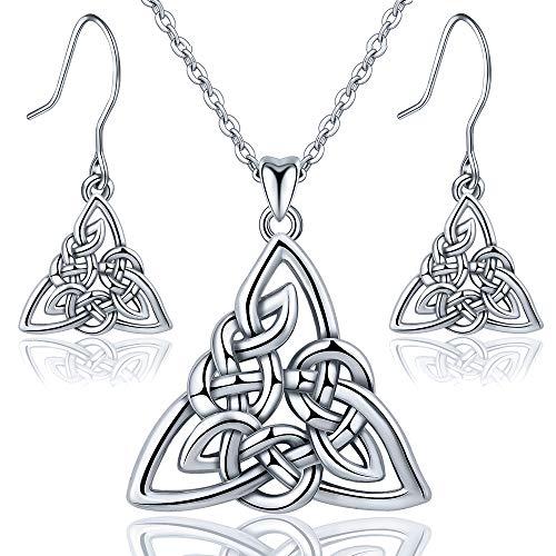 INFUSEU Celtic Trinity Knot Jewelry sets Sterling Silver Flower Women Pendant Necklace Dangle -