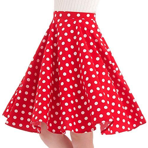 100% Cotton Polka Dot Floral 50s Vintage Retro Full Circle Skirt (M (US4-6), Red White Polka Dot) (Full Circle Red)