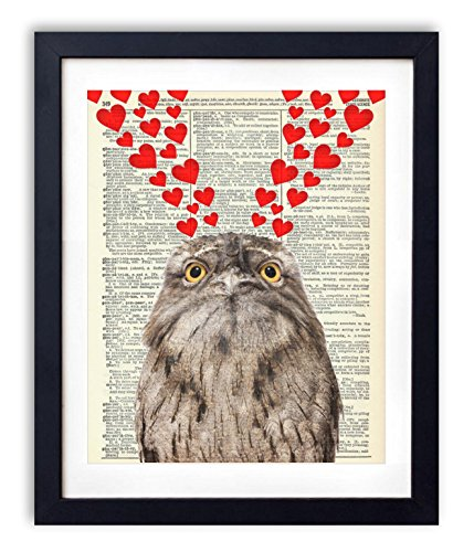 Owl With Hearts Upcycled Vintage Dictionary Art Print 8x10