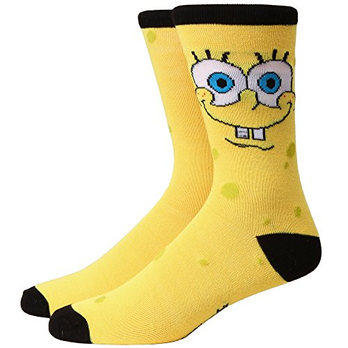 Spongebob Squarepants Closeup Face Adult Crew Socks]()