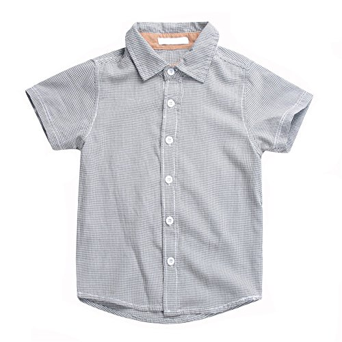 Boys Plaid Button Down Shirts Turn-Down Collar Short Sleeve Cotton Tops Color Grey Size 6A by Snowdreams