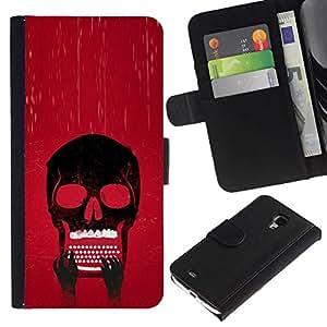 NEECELL GIFT forCITY // Billetera de cuero Caso Cubierta de protección Carcasa / Leather Wallet Case for Samsung Galaxy S4 Mini i9190 // Cráneo Typewriter fresca
